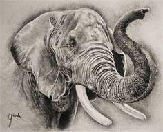 Ik ga dit plaatje gebruiken voor de arcering van de olifant. Hier zie je goed hoe deze kunstenaar dat heeft gedaan.