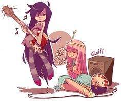 Marceline and Princess Bubblegum - in the style of Panty and Stocking maybe??
