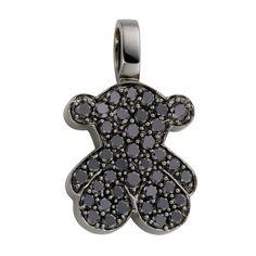 "18kt white gold TOUS Bear pendant with black Diamond pave. Total carat weight 0.21ct. 1,1cm. - 7/16"".  TOUS WASHINGTON DC"