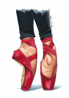 Love the red. Any dancers here that have a bold colour ballet shoes? Art Ballet, Ballet Painting, Ballerina Art, Fashion Artwork, Fashion Prints, Fashion Design, Pointe Shoes, Ballet Shoes, Ballet Drawings