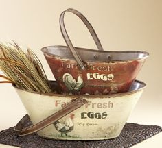 Set of vintage style baskets. These aren't available right now, but the site has loads of wonderful things. :D