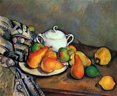 Sugarbowl Pears and Tablecloth - Paul Cezanne