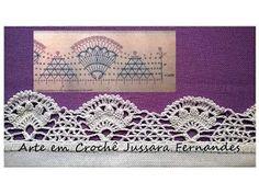 Luty Artes Crochet: Barrados e gráficos Crochet Border Patterns, Crochet Boarders, Crochet Squares, Crochet Motif, Crochet Doilies, Crochet Lace, Crochet Hooks, Chrochet, Diy And Crafts
