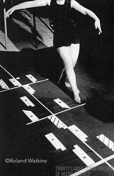 Laban Movement Analysis: Photograph of student and a Labanotation score at the Art of Movement Studio, Manchester, 1946-1950