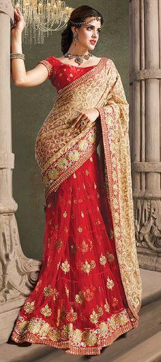 147376: Saree Lace Red Bridalwear