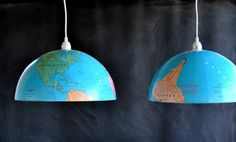 hanging globe light fixture - i have a globe and daughter loved this idea - so now we're going to do it Pendant Lights, Pendant Lamps, Eclectic Pendant Lighting, Globe Pendant Light, Globe Lamps, Globe Chandelier, Globe Lights, Light Shades, Vintage Globe