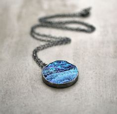Galaxy Druzy Necklace,  Oxidized Sterling Silver Long Chain Necklace Deep Space
