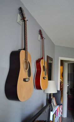 DIY guitar hangers.... CHEAP!