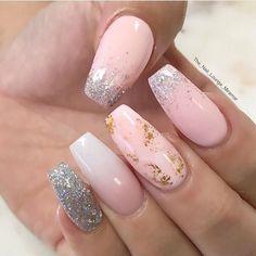 51 mismatched nail art design with gold details
