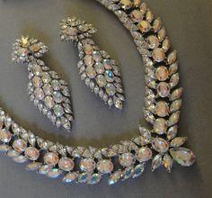 Hollywood Star Bridal Necklace Set  Amazing wedding jewelry in AB Rhinestones and matching Glamorous Long Chandelier rhinestone earrings. $225.00, via Etsy.
