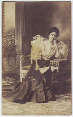 Philippine lady wearing traditional Terno dress. 1913.