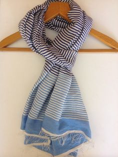 Navy blue and baby blue cotton Scarf-ticking by Bellabisinia