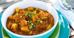 Curried Tomato Lentil Soup (Shorba Addis) Recipe Soups with yellow onion, carrots, ginger, garlic, curry powder, fenugreek seeds, vegetable broth, tomato paste, green lentil, yukon gold potatoes, orzo pasta