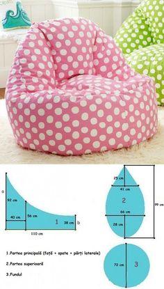 Fotoliul tip sac/pară — confecționați-l în condiții casnice, în doar 30 minute! Diy Sewing Projects, Sewing Tutorials, Sewing Crafts, Sewing Patterns, Sewing Pillows, Diy Pillows, Sewing Toys, Baby Sewing, Bean Bag Pattern