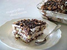 Εύκολο γλυκό ψυγείου με πραλίνα, σοκολάτα και αμύγδαλα από την Ηλιάννα και τις «Μαγειρικές Διαδρομές» ! Greek Sweets, Greek Desserts, Greek Recipes, Cheesecake Recipes, Dessert Recipes, Kai, Sweet Corner, Homemade Sweets, Icebox Cake