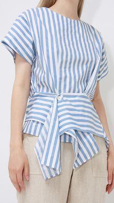 Lynda Top, a lightweight stripe top in Blue