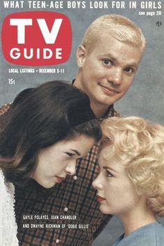 """TV Guide, December 5, 1959 - Gayle Polayes, Joan Chandler, and Dwayne Hickman of """"Dobie Gillis"""""""