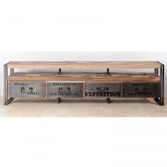 h.55 x l.208 x p.40  Meuble TV 4 tiroirs 1 niche fer dépoli et lattes de bois de bateau recyclé