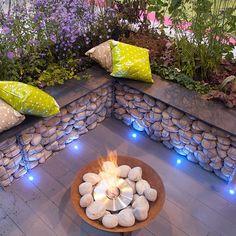Backyard Fences, Backyard Landscaping, Gabion Baskets, Landscape Lighting Design, Wall Seating, Patio Heater, Garden Seating, Outdoor Living, Outdoor Decor