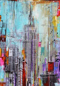 New York art print Giclee of Painting Fine Art by jolinaanthony Pintura Graffiti, Painting Prints, Art Prints, Painting Art, Large Painting, New York Painting, New York Art, Arte Pop, Art Moderne