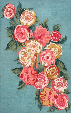 Shop the Hand Hooked Rose Bouquet Rug - Color: Light Blue; Size: x by NuLoom. Made from Wool, Cotton in India. This Hand Hooked Light Blue rug has a pile_height, perfect for a soft yet durable addition to your home. Beautiful Roses Bouquet, Rose Bouquet, Light Blue Area Rug, Blue Area Rugs, Hand Hooked Rugs, Floral Area Rugs, Textiles, Rugs Usa, Pink Rug
