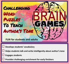 Author's Tone, Tone Words, Increase Vocabulary, Ap Language, Ap Literature, Text Evidence, Challenging Puzzles, High School English, Brain Games