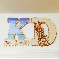 Beach Letters! Cardboard Letters, Painting Wooden Letters, Diy Letters, Painted Letters, Letters And Numbers, Beach Crafts, Diy Crafts, Hanging Letters On Wall, Big Little Week
