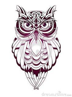 tatouage hibou stylisé