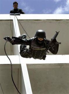 SWAT...rappelling.