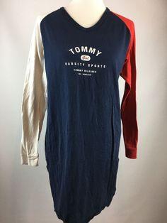 Vtg 90'S Tommy Hilfiger Sleep Shirt Sz S Varsity Sports Girl Red White Blue Knit  | eBay