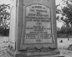 Columbus, Ohio.  Monument in the Franklinton Cemetery on McKinley Ave. erected by the Westside Board of Trade Committee in 1931.  This photo was taken in 1947. The Buckeye State, Cincinnati, Cleveland, Franklin County, My Ancestors, U.s. States, Columbus Ohio, Cemetery, Theatres