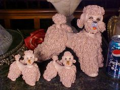Adorable pink vintage spaghetti poodles!--I have these in that color.  They are huge.