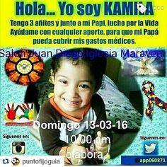 #Repost @puntofijoguia with @repostapp  #comparte  @kruido  Hoy es el Día de todos unir fuerzas por #kamilacastillo!! Acércate y colabora Vendimia para recaudar fondos para la Séptima operación de esta linda princesita! Lugar: #lglesiaMaraven Salón Juan Diego HOY Domingo 13-03-16 a partir de las 10:00am Participa y colabora por esta bella causa.  Culminando con la Misa de Sanación #juntosporkamila HOY 8 :00pm.  Realiza tu aporte lleva tu colaboración y donalo a la causa o simplemente asiste…
