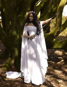 Fae of the Falls Gown - medieval elven arthurian dress by Moonmaiden Gothic Clothing