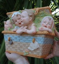 Gebruder Heubach Bisque porcelain Piano Baby doll basket Figurine Antique