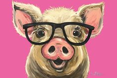 Items similar to Canvas Pig art print, Pig art, pig decor. Pig with glasses print from original Pig painting. Funny Pig art, cute whimsical pig art on Etsy