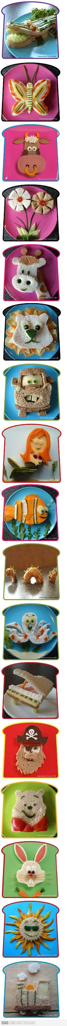 Sandwich art?    Give me a break!   Someone either has no kids to actually eat this or too much time on their hands (or has learned how to stay off Pinterest. Ha ha). While these are really adorable I'm wondering... Who's getting the laundry done?  Who's helping with homework questions? Sorry for the rant, just mumbling over here.  :)