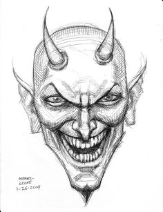 Devil (pen sketch) by myconius on DeviantArt Satan Drawing, Demon Drawings, Creepy Drawings, Dark Drawings, Art Drawings Sketches, Drawing Faces, Tattoo Drawings, Pencil Drawings, Horror Drawing