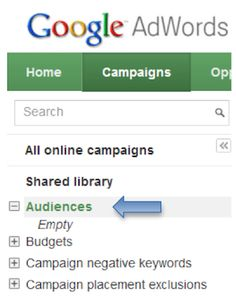 Creating the New Google Remarketing Tags in an Account That Already has Remarketing Tags. Step 1: After logging into your AdWords account at the campaign tab on the left navigation, click on the shared library and then on audiences