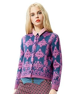 Elf Sack Womens Winter Cardigan Snowflakes Jacquard Loose