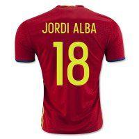 Spain National Team 2016 JORDI ALBA #18 Home Soccer Jersey [C283]