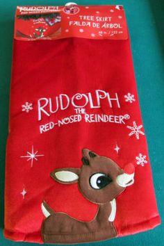 RARE RUDOLPH THE RED NOSED REINDEER 48 INCH FULL SIZE RED VELVET TREE SKIRT