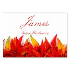 Thanksgiving Place Cards With Fall Leaves Table Cards