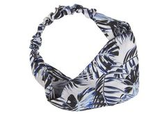 Zijden haarband met palmbladeren in blauw en wit van Bella Ballou - www.legoutdescouleurs.be