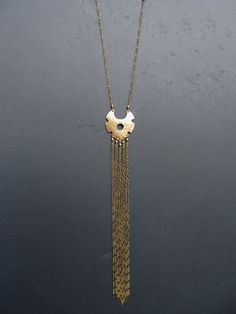 Very Long Tassel Necklace Brass Shield and Chain Pyrite OOAK