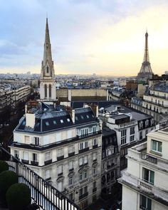 Paris with tower of the American Episcopal Cathedral in foreground