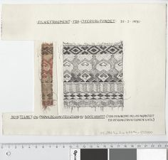 Oseberg Findings from folder 'Oseberg, textiles - silk': Silk Fabric 2, fragment 18. The character of Sofie Krafft: a / ink drawing ('trying construction') and b / watercolor ('character') and cut out. Measure A / B: 23.8 cm, H: 19.3 cm, b / B: 3.5 cm, H: 11 cm.