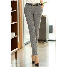 $17.04 Straight Leg Houndstooth Pockets Chic Stye Women's Pants