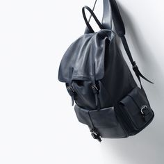 For traveling: ZARA - MAN - LEATHER RUCKSACK