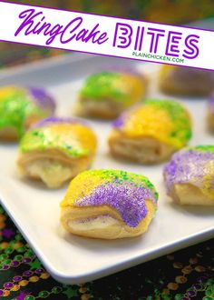 Easy King Cake Bites - crescent rolls filled with cinnamon and cream cheese, topped with icing and colored sugar - DELICIOUS! Great for breakfast or dessert! No Cook Desserts, Delicious Desserts, Dessert Recipes, Yummy Food, King Cake Bites Recipe, Donut Recipes, Baking Recipes, Mardi Gras Food, Haitian Food Recipes